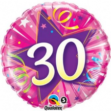 30th Birthday Shining Star Hot Pink Foil Balloon 18""